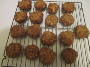 The first batch... a bit scorched at the bottom and difficult to mold, but still some of the best oat cookies I've ever eaten!